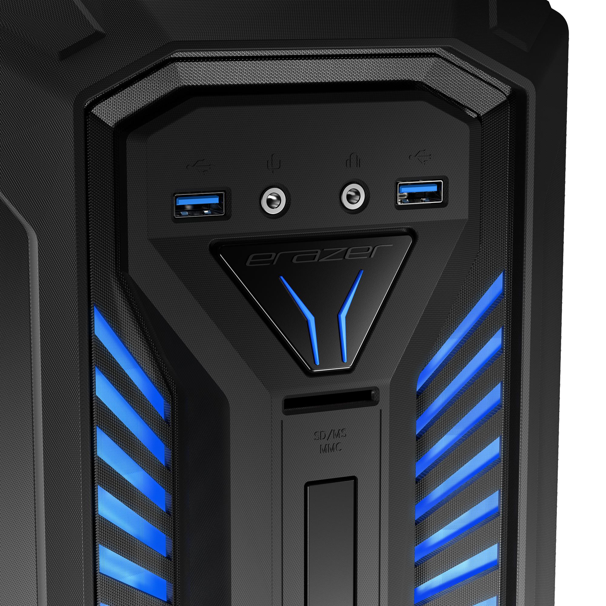 Vooraanzicht X30 behuizing met cardreader, USB 3.0 poorten en audio jack plugs