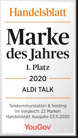 ALDI TALK zum siebten Mal in Folge Mobilfunkmarke des Jahres