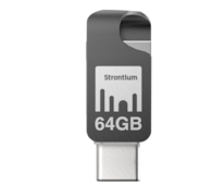 Strontium® Nitro Plus OTG USB Typ C Stick, 64 GB, On-the-go Typ C Adapter, Bis zu 150 MB/s, Für Smartphones und Tablets