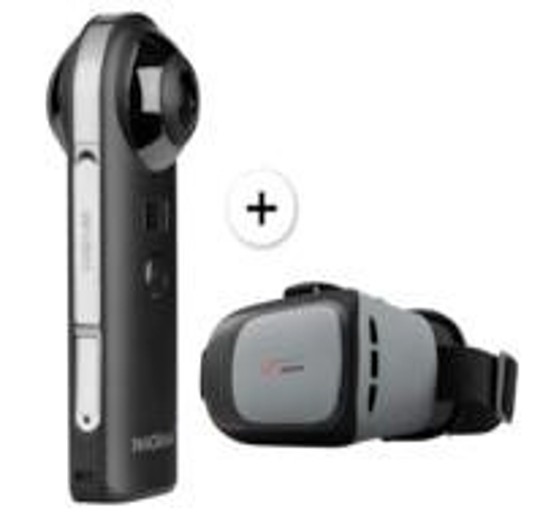 MEDION® P47190 360° Kamera, 20 MP CMOS Sensor, 2 x 190° Weitwinkelobjektiv, WLAN, Bluetooth® 4.2, VR Headset geeignet, integr. Mikrofon, integr. Li-Ion Akku
