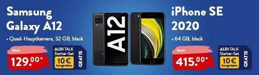 Samsung Galaxy A12 und iPhone SE bei ALDI TALK
