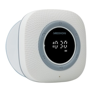 MEDION® LIFE P66096 Doucheradio | LED-display | FM | IPX6 bescherming | Bluetooth 5.0 | 30 W uitgangsvermogen | Wit