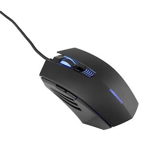 MEDION® E81091 6-knops muis, met LED-verlichting, optische resolutie tot 2.400 dpi, vergulde USB-stekker