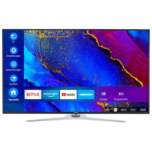 MEDION® LIFE® X16579 Smart-TV, 163,9 cm (65'') Ultra HD Display, HDR, HLG, Dolby Vision™, Micro Dimming, MEMC, PVR ready, Netflix, Amazon Prime Video, Bluetooth®, DTS HD, integrierter Subwoofer, HD Triple Tuner, CI+