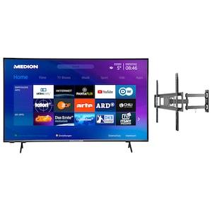 MEDION® LIFE® X15554 138,8 cm (55'') Ultra HD Smart-TV + GOOBAY Basic FULLMOTION (L) Wandhalterung - ARTIKELSET