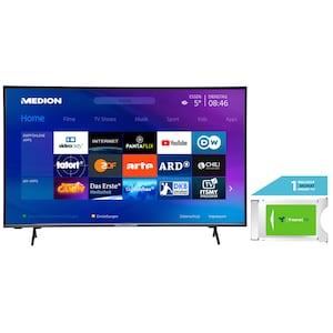 MEDION® LIFE® X14351 108 cm (43'') Ultra HD Display Smart-TV +DVB-T 2 HD Modul (1 Monat freenet TV gratis) - ARTIKELSET