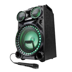 MEDION® LIFE® X64030 Bluetooth® Partylautsprecher mit Drum Pads, Mikrofon, LED Lichteffekte, kraftvolle Bässe, Gitarreneingang, inkl. Mikrofon, 100 W max. Musikausgangsleistung