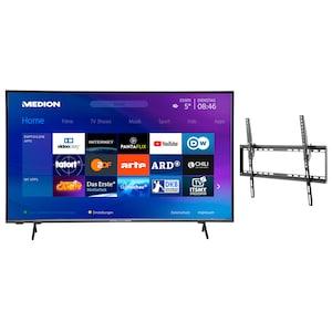 MEDION® LIFE® X16557 163,8 cm (65'') Ultra HD Smart-TV + GOOBAY Basic TILT (L) Wandhalterung - ARTIKELSET