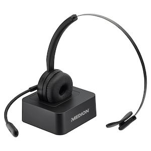 MEDION® LIFE E83279 Koptelefoon | Flexibele microfoon | Ingebouwde batterij met lange looptijd | Laadstation | Aanpasbare handgreep | Zachte oorkussens | Plug & Play