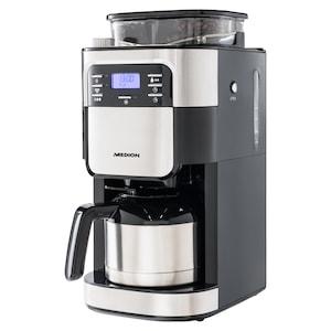 MEDION® Kaffeemaschine mit Mahlwerk und Isolierkanne MD 19777, LED-Display, Tropf-Stopp, Kaffeebohnenmahlwerk, 900 Watt, 1,0 Liter Fassungsvermögen