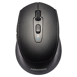 MEDION® LIFE® P81010 Kabellose Maus, wahlweise Betrieb per Bluetooth® oder 2,4 GHz, optischer Maussensor, 6 Tasten und Scrollrad, DPI-Schalter, ergonomisch