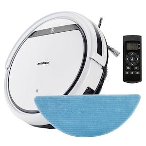 MEDION® Robot stofzuiger met dweilfunctie MD 18501 | Programmeerbare start | 2600 mAh accu | Afstandsbediening | Virtuele muur | Voor gladde vloeren en tapijt | Automatisch terug naar oplaadstation