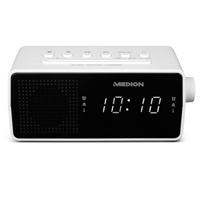MEDION® LIFE® E66407, PLL-Uhrenradio, LED-Display, Displaydimmer, PLL-UKW-Radio, 10 Senderspeicher, Einschlafautomatik, weiß
