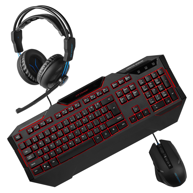 ERAZER® Gaming Sparpaket, ERAZER® X81019 Gaming Tastatur + ERAZER® X81026 Gaming Maus + ERAZER® P83962 Gaming Headset