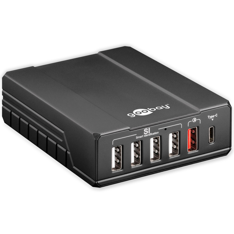 GOOBAY Intelligenter 6-fach USB-Multiportlader, 10 Ampere, lädt bis zu 6 Geräte gleichzeitig, kompakte Bauform