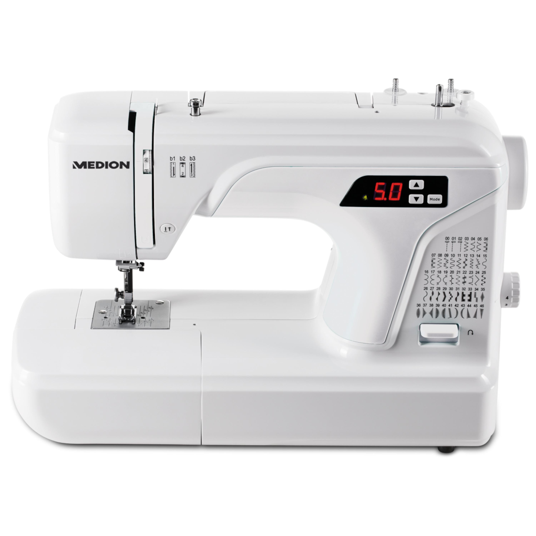 MEDION® Dig. Nähmaschine MD 16661, Knopflochautomatik, 50 versch. Stichmuster, LED-Nählicht, umfangreiches Zubehör