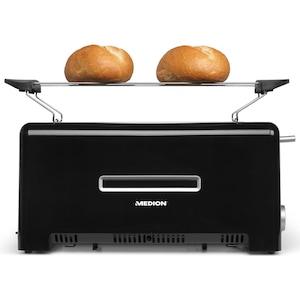 MEDION® Toaster MD 15709, 1.200 bis 1.400 Watt, zwei Langschlitze, Aufwärm-, Auftau- und Stopptaste, Bräunungsgrad-Regler
