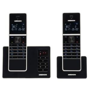 MEDION® LIFE® P63040 DECT Telefon mit 2 Mobilteilen, ECO-Funktion, integrierter, digitaler Anrufbeantworter, Freisprechfunktion, hintergrundbeleuchtete Tasten (B-Ware)