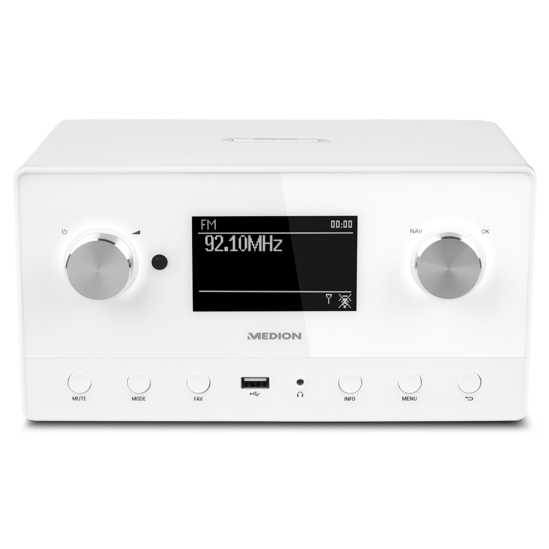MEDION® LIFE® P85066 WiFi Stereo Internet-Radio, Multiroom-Funktion, DAB+, UKW-Radio, USB- & AUX-Anschluss, Spotify-kompatibel, 2 x 7,5 W RMS (B-Ware)