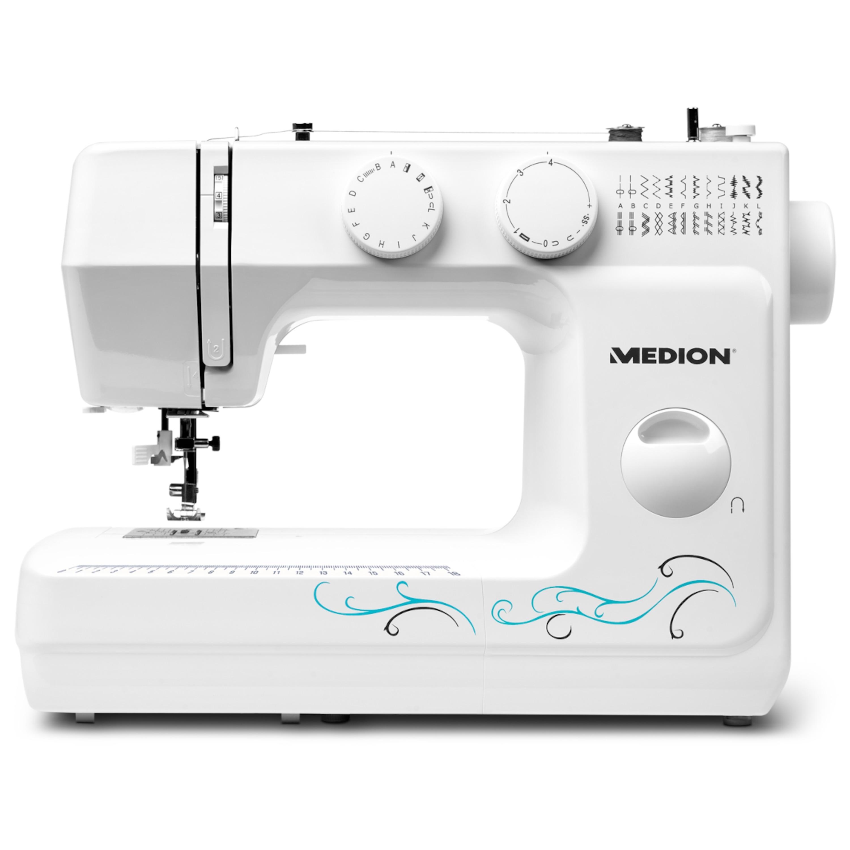 MEDION® Freiarmnähmaschine MD 18205, 60 verschiedene Stichmuster, Knopfloch- und Einfädelautomatik, LED-Nählicht, umfangreiches Zubehör