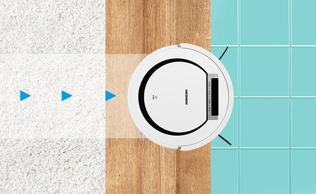 medion saugroboter md 18600 f r alle hartb den und kurzflorige teppiche tierhaar optimiert 90. Black Bedroom Furniture Sets. Home Design Ideas
