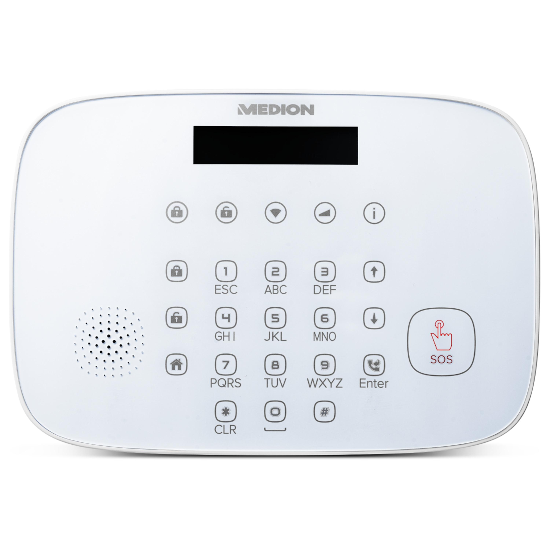 MEDION® Smart Home Alarmsystem Zentrale P85731, Zuverlässige Sicherheit im Haus, Echtzeit Benachrichtigung, Datentransfer via Mobilfunk & WLAN