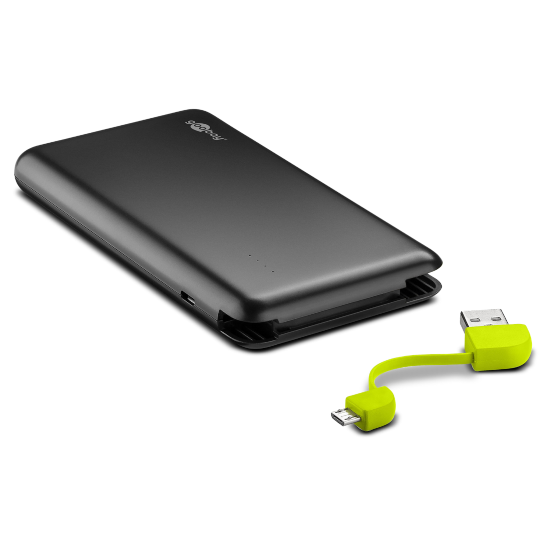 WENTRONIC PowerBank mit 8000 mAh, Integriertes Micro-USB-/USB-Ladekabel, 2,0 Ampere, Batteriestatus-Anzeige
