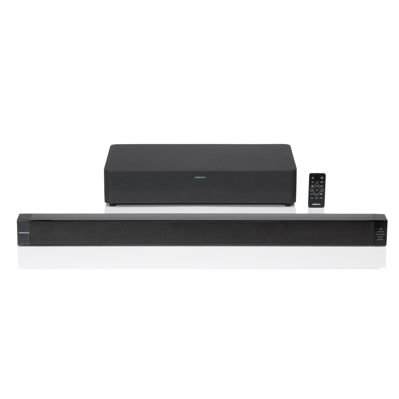 MEDION® LIFE® 2.1 Soundbar mit Funk-Subwoofer, Bluetooth® Funktion, kabellose Muiskübertragung von Smartphone & Tablet, AUX, HDMI, 2 x 30 W RMS + 60 W max. Musikausgangsleistung