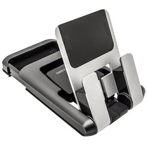MEDION® E89076 Tablet Halterung, Stabile Tablet-Halterung für Geräte von 5 bis 10, anpassbarer Standwinkel