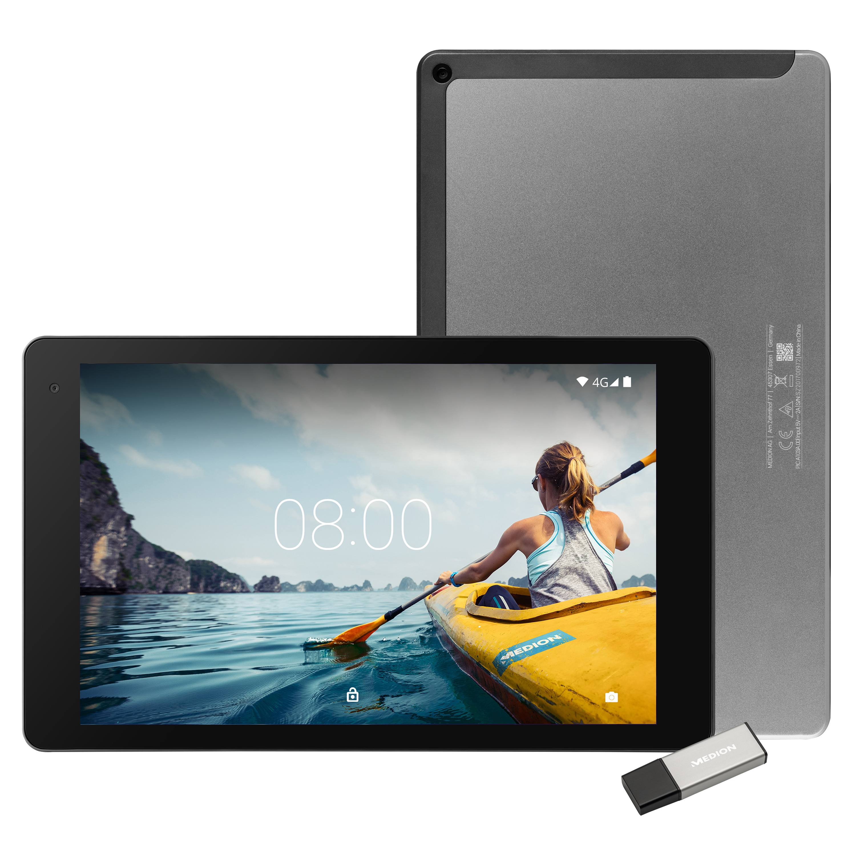 """MEDION® LIFETAB® X10605 Tablet, 25,7 cm (10,1"""") FHD Display mit Corning® Gorilla® Glass, Update auf Android™ 8, 32 GB Speicher, Octa Core Prozessor, LTE, Quick Charge, inkl. USB Stick"""