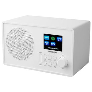 "MEDION® E85083 WLAN Internet-Radio, Solides Holzgehäuse, 6,1 cm/2,4"" TFT-Display, DLNA/UPNP, FM/UKW, LAN, USB 2.0, AUX, 1 x 10 W RMS (B-Ware)"