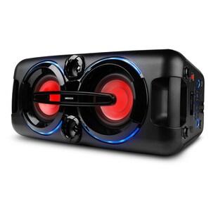 MEDION® LIFE® P67013 Partylautsprecher mit Bluetooth 2.1, farbige LED-Lichter, kraftvolle Bässe, 2 x USB, AUX Anschluss, 2 x 22 Watt RMS, integr. Akku