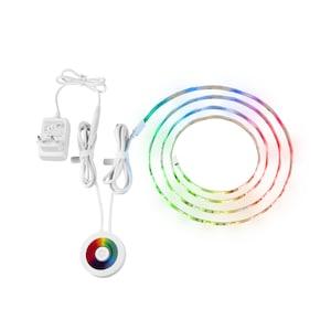 MEDION® LIFE+ RGB LED Streifen S85370, 2 Meter lang, Warmweiß und RGB Lichtfarbe, dimmbar, Lampenlebensdauer bis zu 25.000 Stunden.