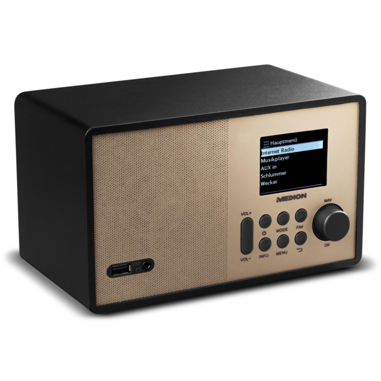 MEDION® LIFE® E85059 WLAN Internet-Radio, 6,1 cm (2,4'') TFT-Display, solides Holzgehäuse, DLNA/UPnP, USB 2.0, AUX, 1 x 10 W RMS