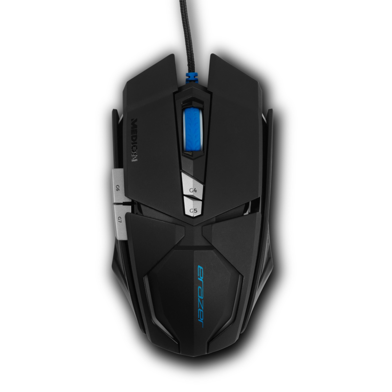 MEDION® ERAZER® X81044 Kabelgebundene Gaming Maus, Laser Sensor, 7 OMRON Maustasten, Beleuchtetes Scrollrad, bis zu 8000 dpi