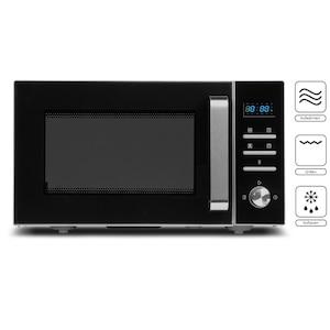 MEDION® 3in1 Mikrowelle MD 18043, Kombination aus Mikrowelle, Grill und Ofen, 8 Automatikprogramme, edles Design