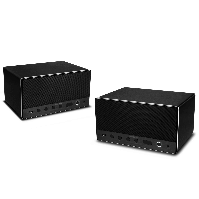 MEDION® Sparpaket - 2 x P61071 Multiroom Lautsprecher mit WLAN, Spotify Connect kompatibel, DLNA, USB Ladeanschluss, AUX-In, 2 x 7 Watt + 15 Watt RMS