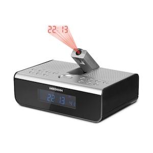 MEDION® LIFE® E66358 Projektions-Radiowecker mit PLL-UKW, LC-Display mit Hintergrundbeleuchtung, automatischer Display-Dimmer, Wecken durch Radio, Alarmton oder Melodie