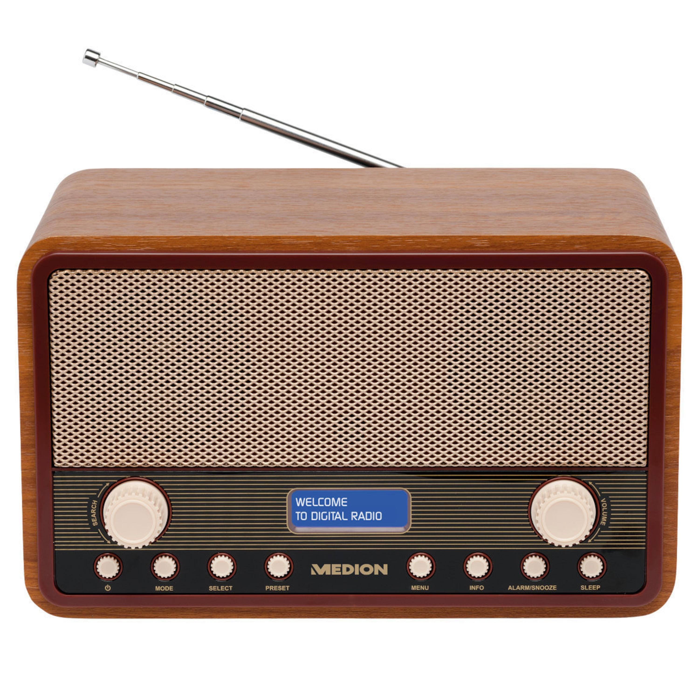 MEDION® LIFE® E66312 DAB+ Radio, UKW,  20 Senderspeicher (10 x DAB+, 10 x UKW), Einschlaf- und Schlummerfunktion, 2 x 20 Watt max. Musikausgangsleistung