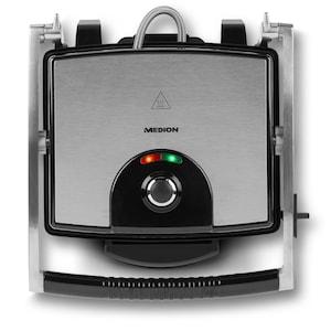 MEDION® Panini Grill MD 16832, 1.800 Watt, Antihaft-Beschichtung, Temperaturkontrolle, Öl-Auffangschale, Überhitzungsschutz