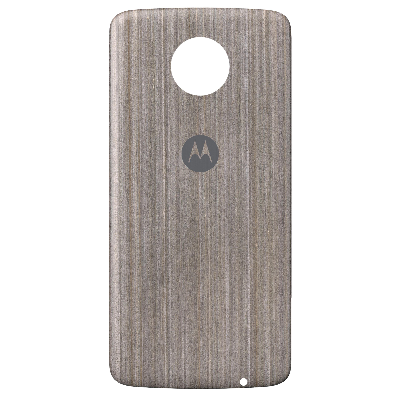 MOTOROLA moto Style Shell Silver Oak Wood Back-Cover, Premium-Materialien, individuell anpassbar, geeignet für alle Smartphones der moto z Familie