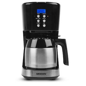 MEDION® Kaffeemaschine mit Thermokanne MD 18088, Timer-Funktion, Tropf-Stopp, 900 Watt, 1 Liter Fassungsvermögen