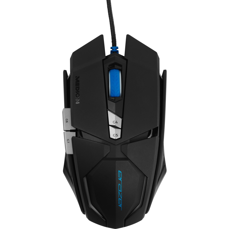 ERAZER® X81044 Gaming Maus, Laser Sensor, 7 OMRON Maustasten, beleuchtetes Scrollrad, bis zu 8000 dpi, kabelgebunden