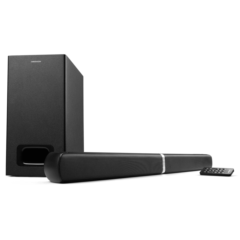 MEDION® LIFE® E64126 2.1 Bluetooth Soundbar, verbessert den Sound, 8m Reichweite, 3 Soundeinstellungen, Bass-Einstellung, NFC, Bluetooth 3.0