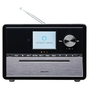 MEDION® LIFE® S64007 Mikro-Audio-System mit Amazon Alexa, 7,1 cm (2,8) TFT-Farbdisplay, DAB+/PLL-UKW, WLAN, Party Mode, EQ für Bass- und Höheneinstellung, Musikwiedergabe über Bluetooth®, 15 W RMS