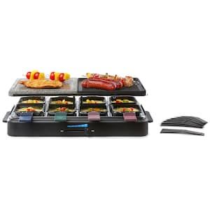 MEDION® Raclette Grill MD 17168, 1.200 bis 1.400 W, Antihaftbeschichtung, Überhitzungsschutz, halb Platte – halb Stein Ausstattung
