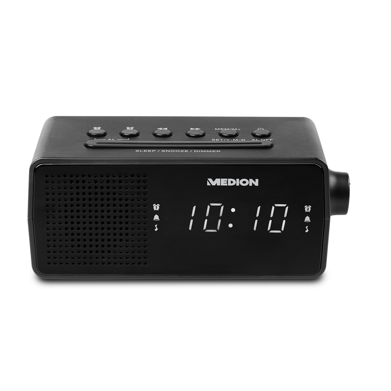 MEDION® LIFE® E66407, PLL-Uhrenradio, LED-Display, Displaydimmer, PLL-UKW-Radio, 10 Senderspeicher, Einschlafautomatik, schwarz