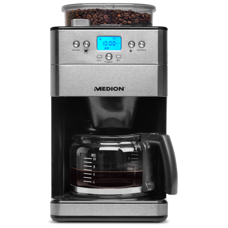 MEDION® Kaffeemaschine mit Mahlwerk MD 16893 mit 1000 Watt Leistung, 9 Mahlstufen, programmbierbarer Timer