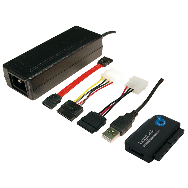 LOGILINK USB 2.0 zu IDE & SATA Adapter, max. Geschwindigkeit: 480 MBit, One Touch Backup (OTB) Funktion, Unterstützt auch CD- & DVD-LW