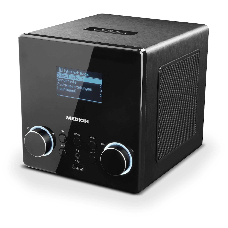 MEDION® LIFE® P85044 WLAN Stereo Internetradio, großflächiges 6,7 cm (2,65) LC-Display, DAB+, USB, Wecker, Steuerung per App, geeignet für Küche oder Bad
